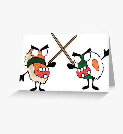angry dueling zombie sushi Greeting Card