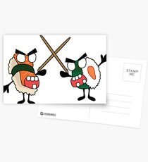 angry dueling zombie sushi Postcards