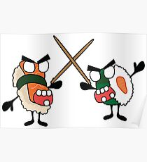 angry dueling zombie sushi Poster