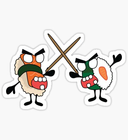 angry dueling zombie sushi Glossy Sticker