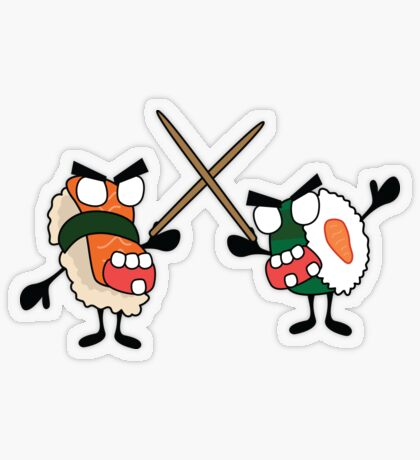 angry dueling zombie sushi Transparent Sticker