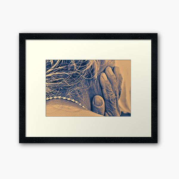 Humans of India - Indian lady with hardworking hands and silver necklace Framed Art Print