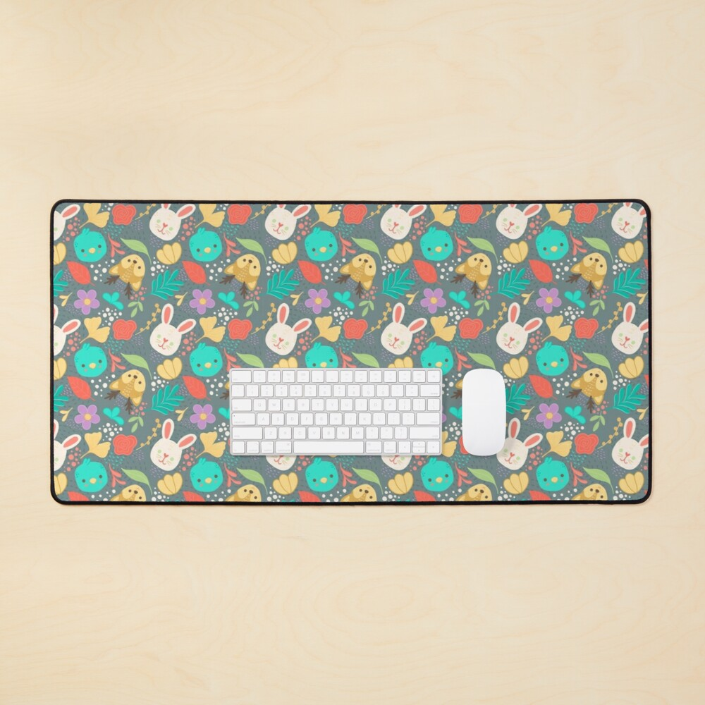 Cute Woodland Animals Spring Pattern Mouse Pad