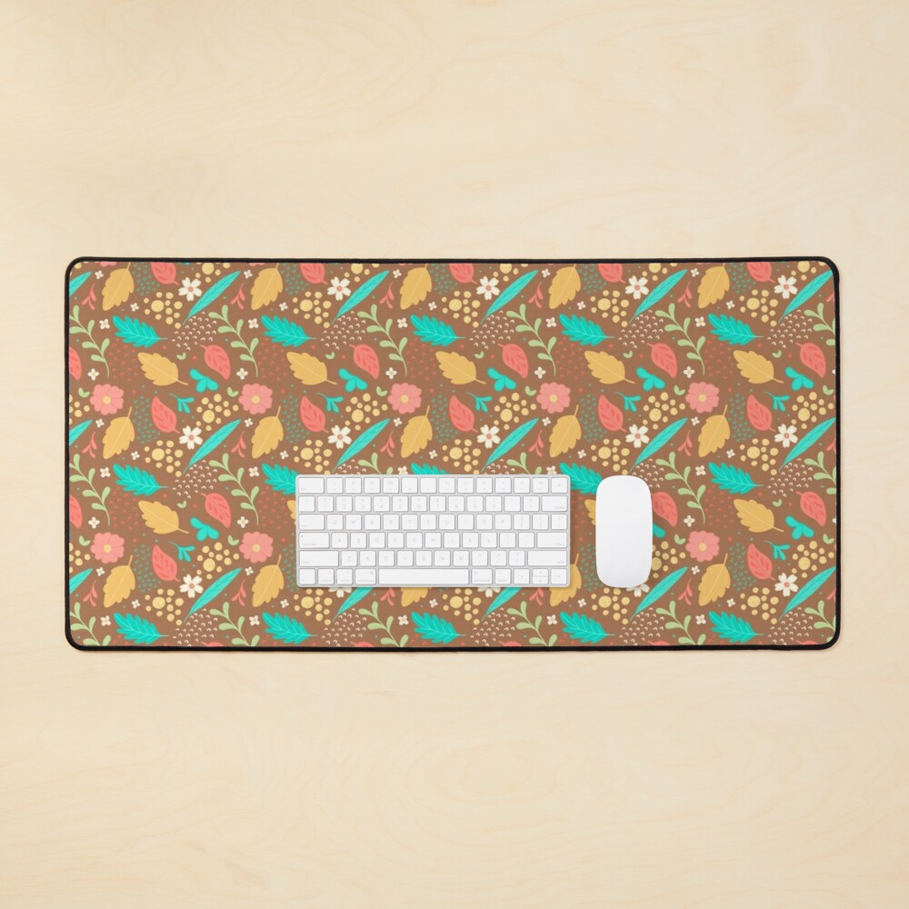 Sweet Flowers and Leaves Pattern Mouse Pad