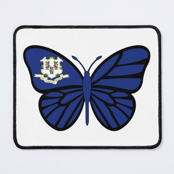State of Connecticut Flag Butterfly Mouse Pad