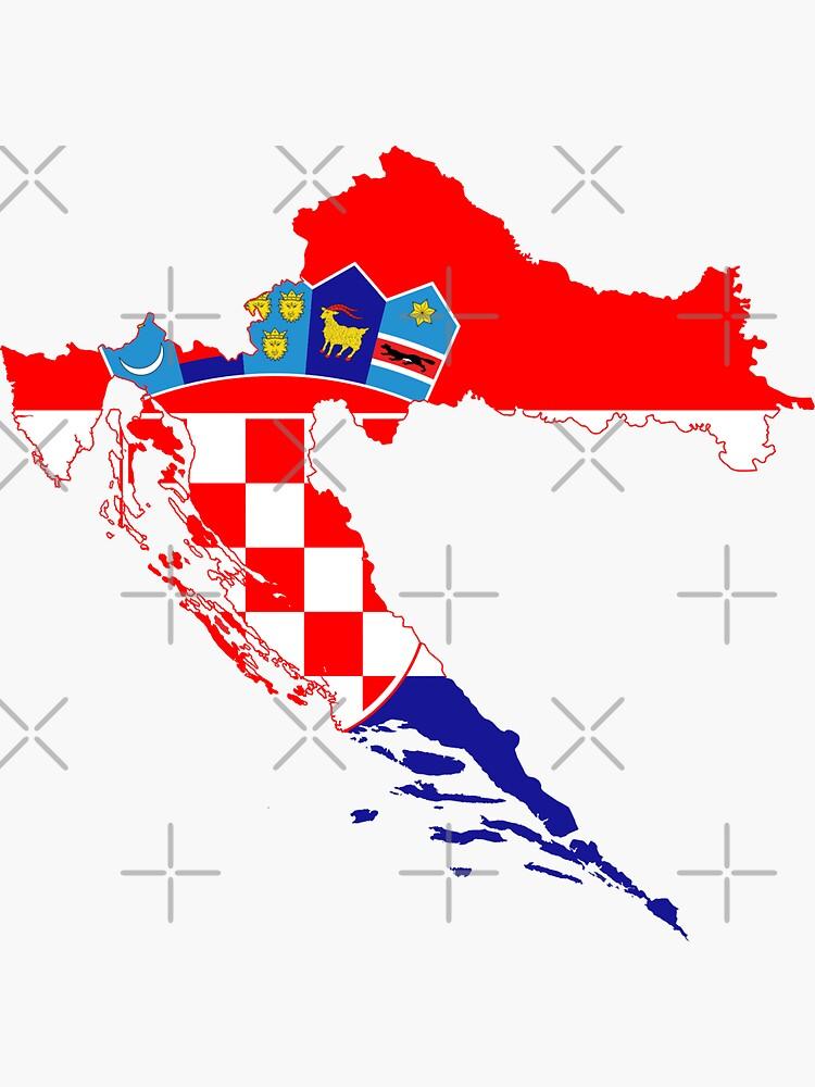 Croatia Flag Stickers Flag Decals Croatia Vinyl Stickers Round 4pack