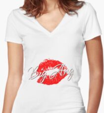 Big Lips Women's Fitted V-Neck T-Shirt