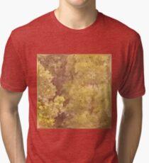 Dark Khaki Green Abstract Low Polygon Background Tri-blend T-Shirt