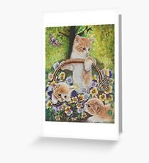 Cat Art - Cute Kittens in a Flowers Basket at Spring Time  Greeting Card