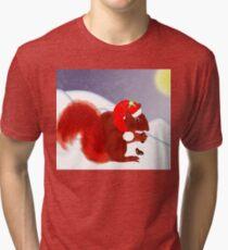 Cute Red Squirrel Snowy Christmas Scene Tri-blend T-Shirt