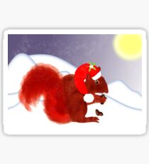 Cute Red Squirrel Snowy Christmas Scene Sticker