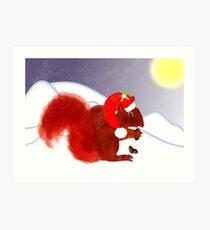 Cute Red Squirrel Snowy Christmas Scene Art Print