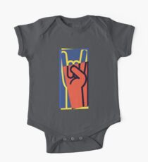 Metal Hand Horns Pop Art One Piece - Short Sleeve