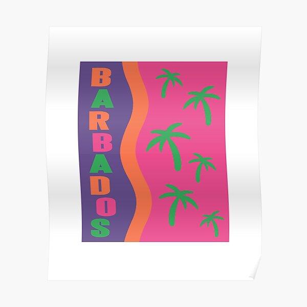 Barbados 80's 90's Retro Tourist Souvenir Poster