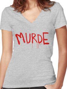 American Horror Story Season 6 My Roanoke Nightmare Murde Graffiti Women's Fitted V-Neck T-Shirt