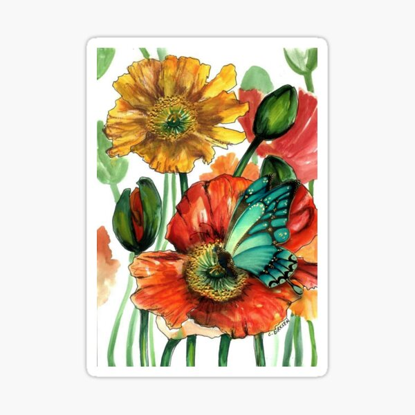 Iceland Poppies with Blue Butterfly Sticker