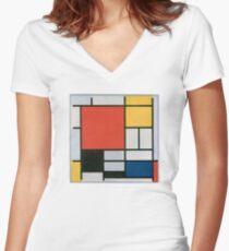 Piet Mondriaan - Composition II in Red Blue en Yellow Women's Fitted V-Neck T-Shirt