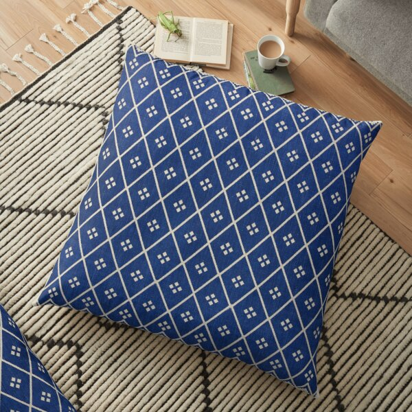 Blue Oriental Traditional Boho Moroccan Style  Floor Pillow