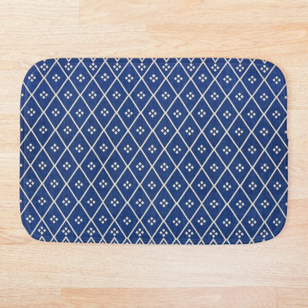 Blue Oriental Traditional Boho Moroccan Style  Bath Mat