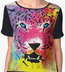 Tiger - Colorful Portrait - Paint Splatters and Stained Canvas Texture Art Prints Women's Chiffon Top