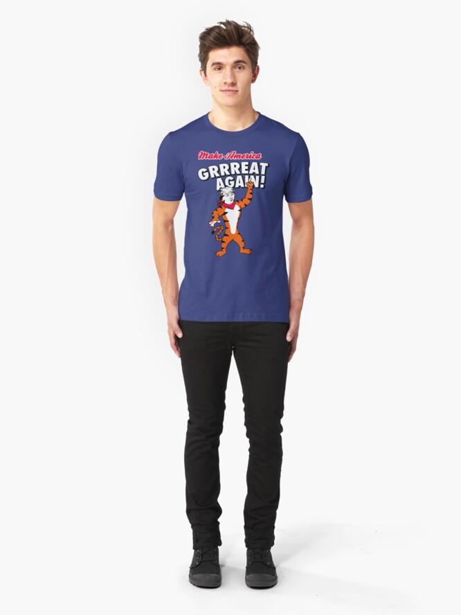 Alternate view of Make America GRRREAT AGAIN! - Trump the Tiger Slim Fit T-Shirt