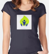 People and nature icon, adult and kids - green and blue Women's Fitted Scoop T-Shirt