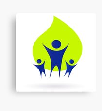 People and nature icon, adult and kids - green and blue Canvas Print