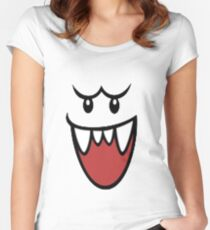 Super Mario Bros Boo Face Women's Fitted Scoop T-Shirt