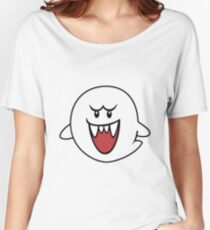 Super Mario Bros Boo Shape Design Women's Relaxed Fit T-Shirt