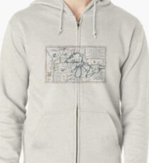 Vintage Map of The Great Lakes (1696)  Zipped Hoodie