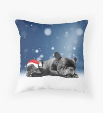 French Bulldog Puppy Sleeping w Christmas Hat Snow Throw Pillow