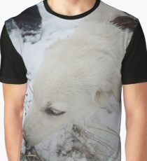 white dog something cheating in the snow Graphic T-Shirt