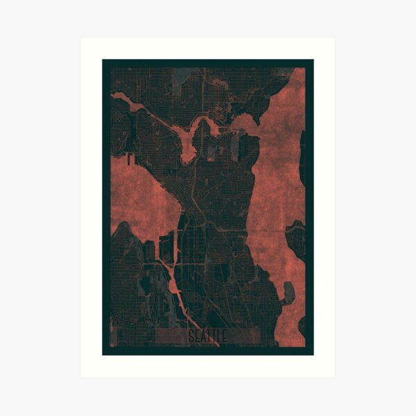 Seattle Map Red Art Print