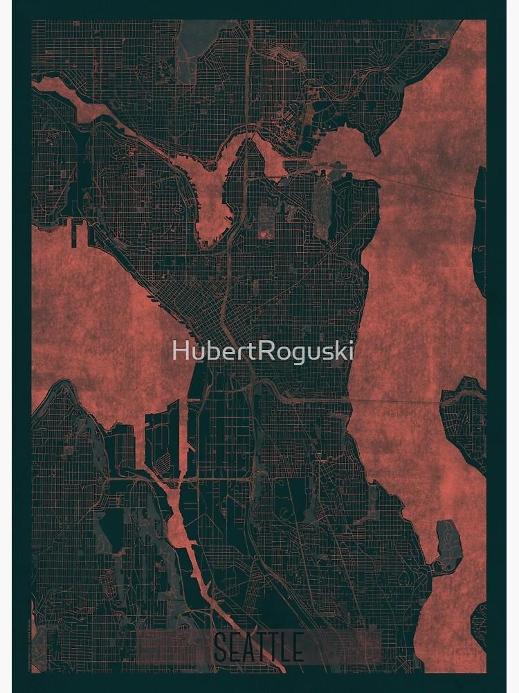 Seattle Map Red by HubertRoguski