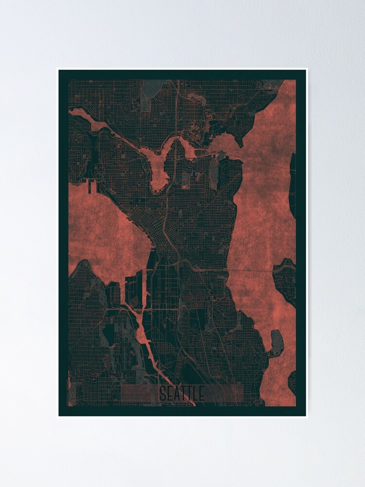 Alternate view of Seattle Map Red Poster