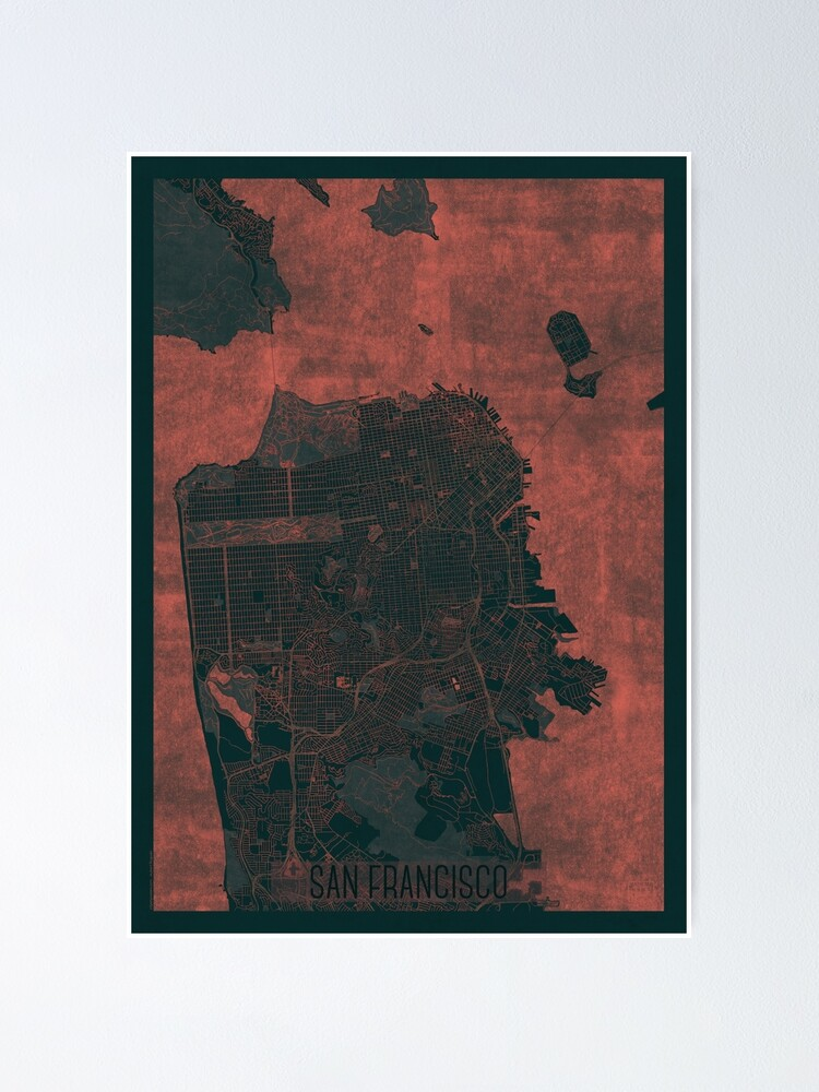 Alternate view of San Francisco Map Red Poster