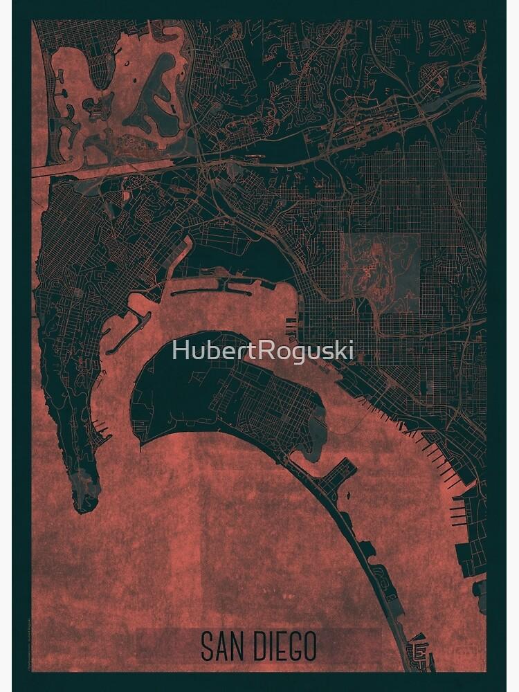 San Diego Map Red by HubertRoguski
