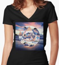 Geometric Ocean Abstract Women's Fitted V-Neck T-Shirt