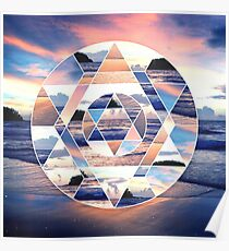 Geometric Ocean Abstract Poster