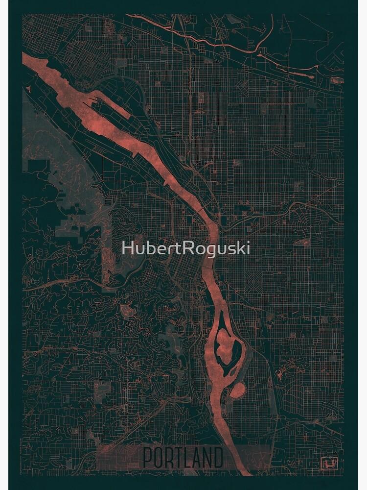 Portland Map Red by HubertRoguski
