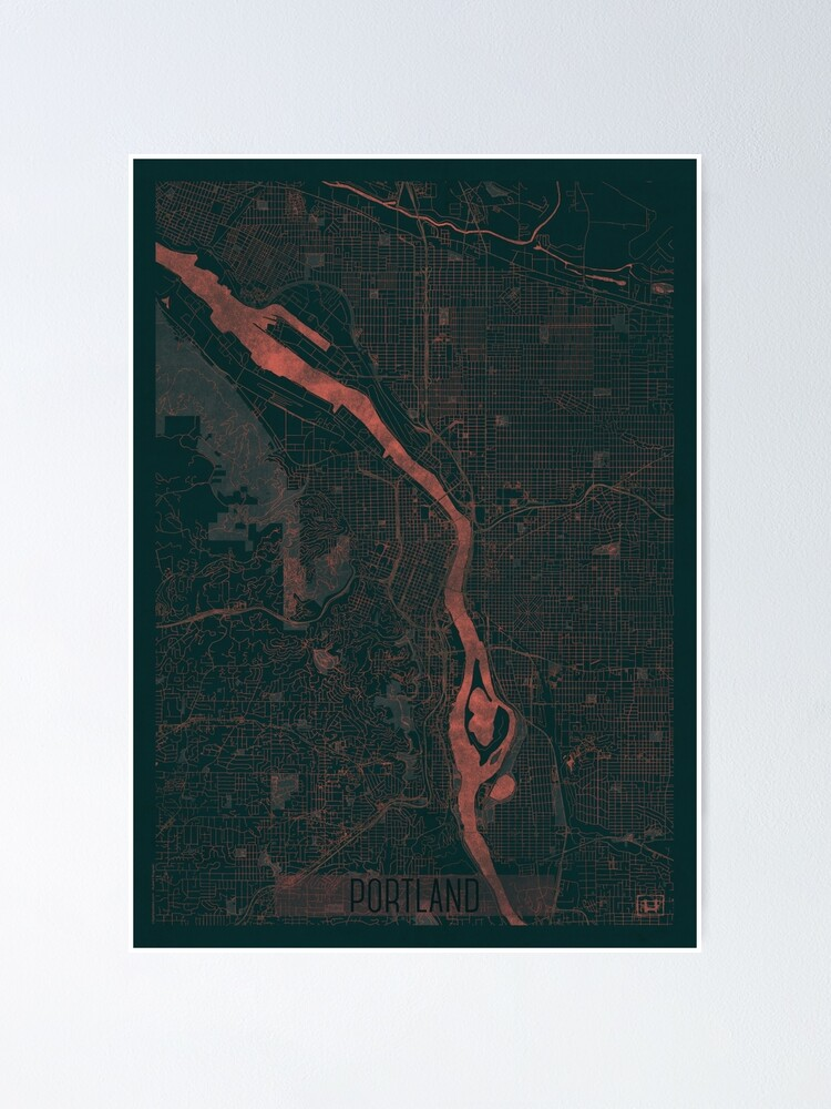 Alternate view of Portland Map Red Poster