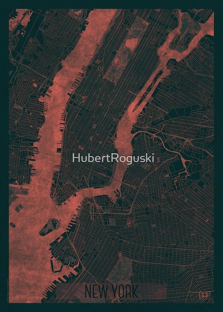 New York Map Red by HubertRoguski
