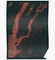 New York Map Red Poster