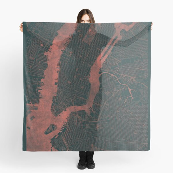 New York Map Red Scarf