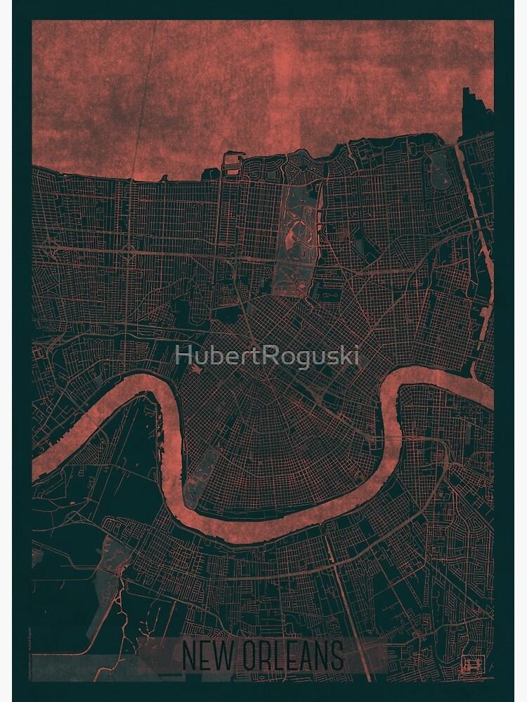 New Orleans Map Red by HubertRoguski