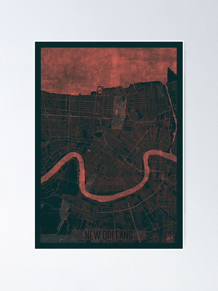 Alternate view of New Orleans Map Red Poster