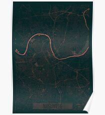 Nashville Map Red Poster