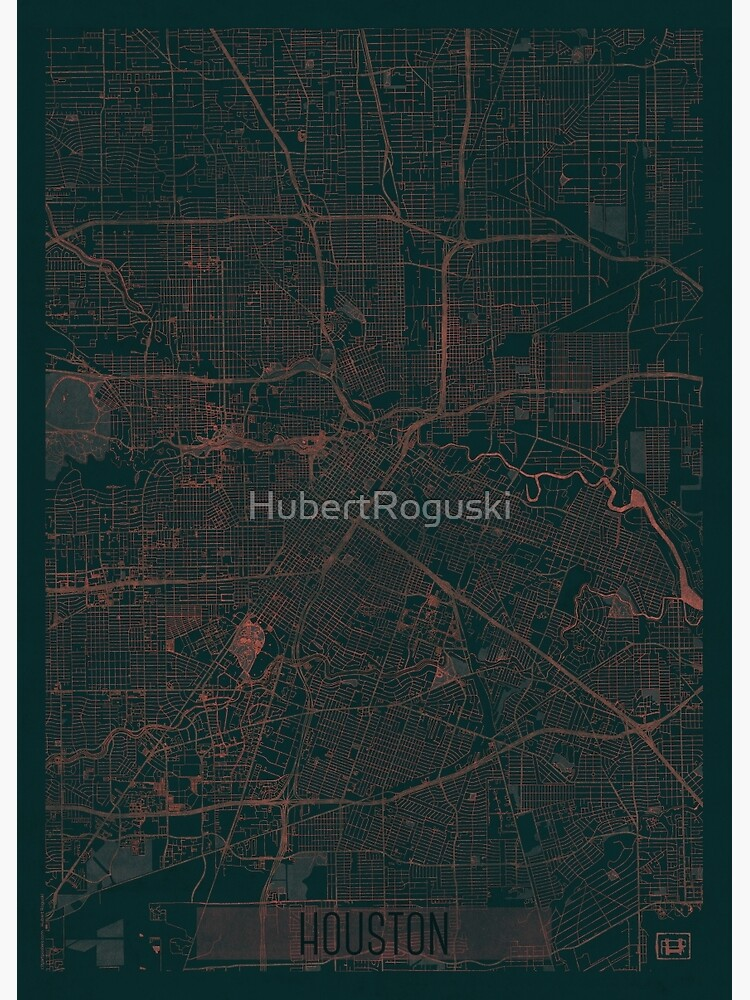 Houston Map Red by HubertRoguski