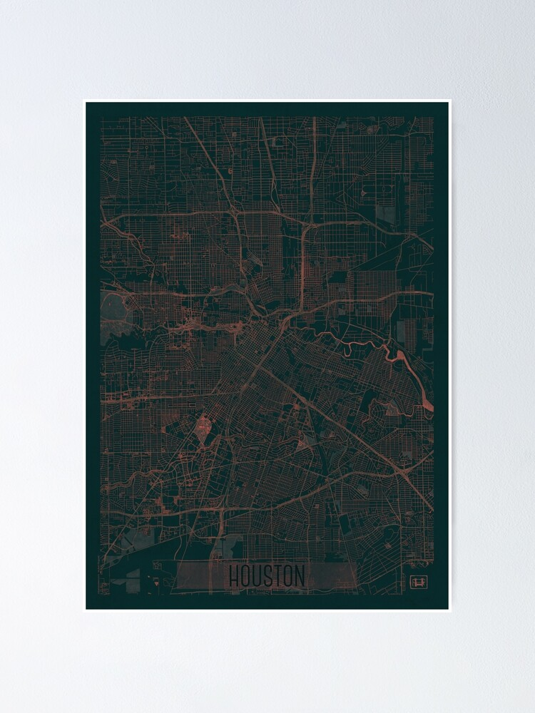 Alternate view of Houston Map Red Poster