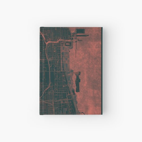 Chicago Map Red Hardcover Journal